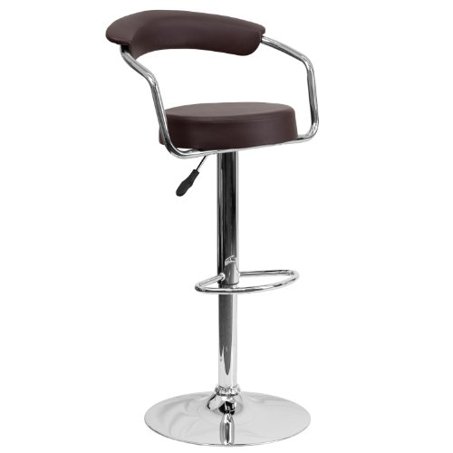Flash Furniture Contemporary Brown Vinyl Adjustable Height Barstool with Arms and Chrome Base