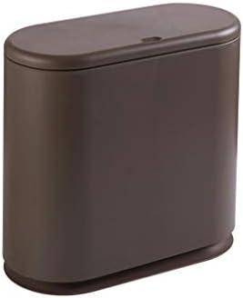 キッチンゴミ箱 ウェットとドライごみ選別ごみ箱を押しタイプ、屋根リビングルームオーバル浴室大型ごみ箱複数の色 ごみ収集 (Color : Brown)