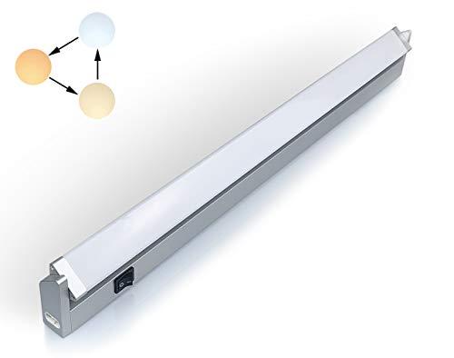 LED iluminacion bajo Mueble Giratoria con Tres Temperaturas de Color 3000 K/4000 K/6000 K Luz Cocina Estante Lavabo Armario con Kit de Instalacion de 10.50watts 56cm