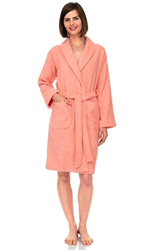 TowelSelections Women's Robe, Turkish Cotton Short Terry Bathrobe Large Apricot Blush