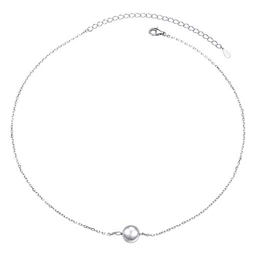 (S925 Sterling Silver Choker Dot Single Bead Clavicle Dainty Short Pendant Necklace for Women Girl)