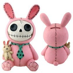 Furrybones Pink Bunny Bun Bun Resin Piggy Bank
