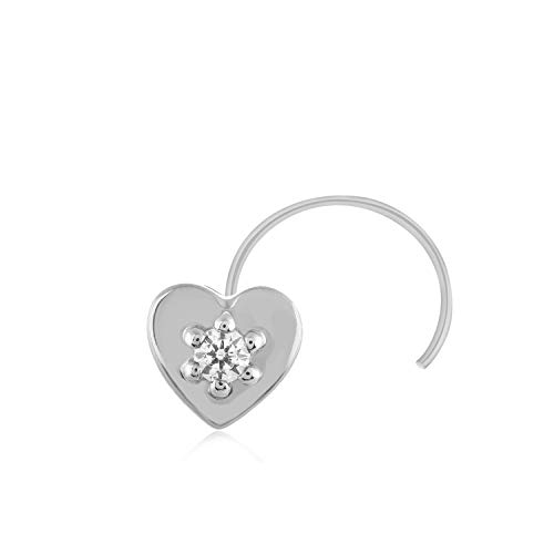CARATS FOR YOU 0.02ct Round Shape Genuine Real Natural Diamond Solitaire 10k White Gold Heart Shaped Nose Ring Stud Pin for women