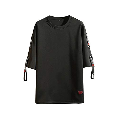 AOJIAN Men T Shirts Short Sleeve T-Shirt Fashion Patch Tee Shirts Tunic Blouses Vest Tank Tops Black