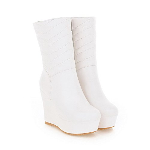 AmoonyFashion Wege Solid B White High 5 Soft Womens Toe and US M with PU Low 5 Heels Closed PU Round Material Boots Platform gRqrPT6ng