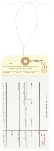 Aviditi Pre Wired 2 Part Carbonless Stub Style #8 Inventory Tag, 2500-2999 Numbering, White/Manila (G19063)