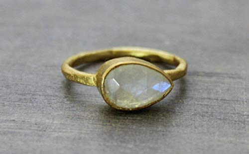 Pear Shape Moonstone Gold Plated Sterling Silver Ring, size 8