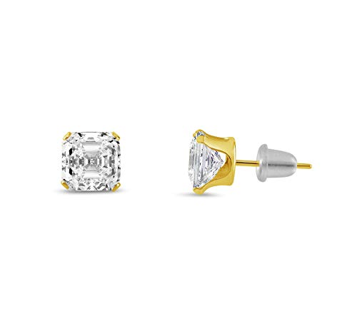Asscher Square Ring - honjejewelry Earrings Square asscher Cut Clear White cz 10k Yellow Gold for Women 1 Pair (4mm x 4mm)
