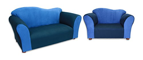KEET Sofa and Chair Wave Kid's Set, Navy/Blue