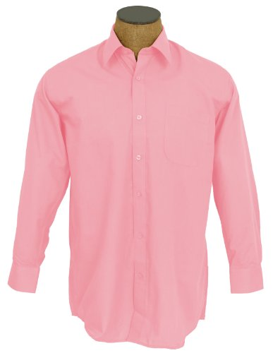 Sunrise Outlet Men's Solid Color Cotton Blend Dress Shirt - Pink 18.5 34-35