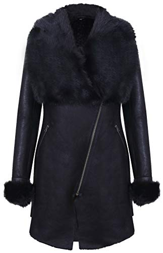 - Women's Black Suede Merino Sheepskin Leather Coat Toscana Collar L