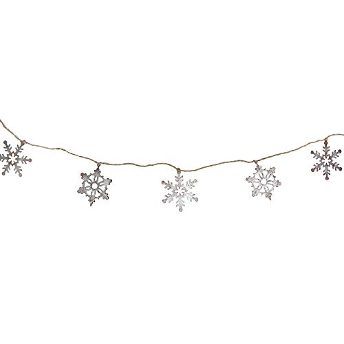 Midwest Gloves 6' Country Tweed Snowflake Weathered Metal Christmas Garland- Unlit