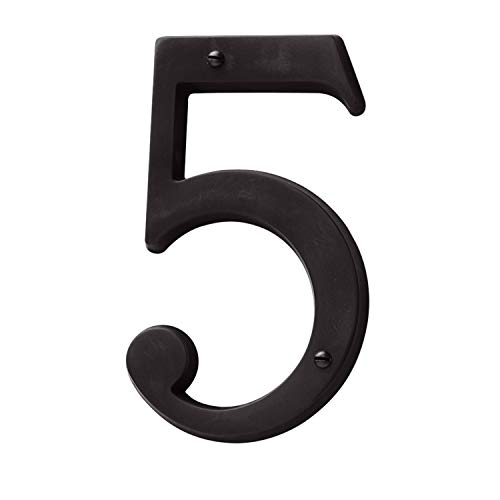 Baldwin Estate 90675.102.CD Solid Brass Traditional House Number Five in Oil Rubbed Bronze, 4.75