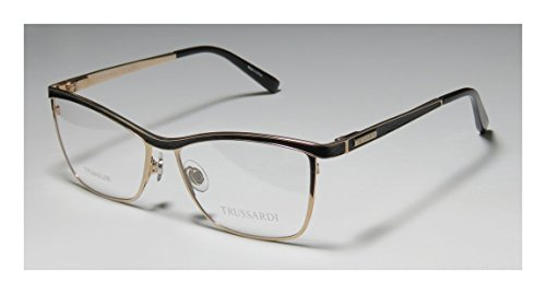 Trussardi 12516 WomensLadies Rx-able Famous Designer Designer Full-rim Titanium Flexible Hinges EyeglassesEyeglass Frame (54-15-135 Gold  Black)