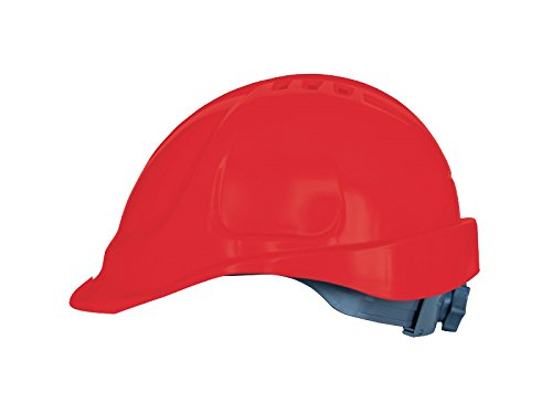 Hard Hat Safety Helmet Construction worker helmet Ventilated Twist Lock Wheel Ratchet and sweatband Light EN 397 Available In a Range Of Colours (Red) Stens