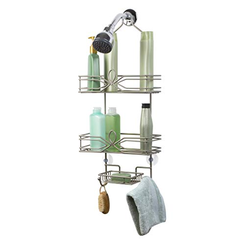 Richards Homewares Aria Shower Bathtub Caddy - Satin Nickel Finish - Over The Showerhead Spacesaver - 2 Large Wired Shelves - Built in Soapdish with 2 Hooks (Umbra Bathtub Ring Holder)