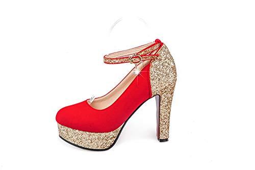 Red EU AdeeSu Rouge SDC05849 Femme 36 Plateforme 5 xwPHZvq