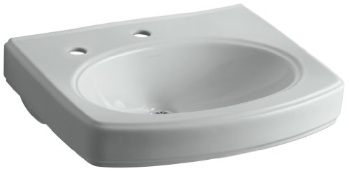 Grey Pinoir Pedestal Lavatory - Kohler K-2028-1L-95 Pinoir Lavatory Basin with Single-Hole Faucet Drilling and Left-Hand Soap/Lotion Dispenser, Ice Grey