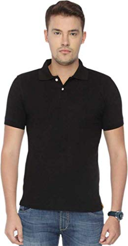 LOOKSWALA Polo Neck Black Men T Shirt