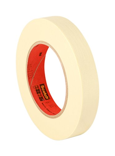 """3M 201+ 1"""" x 60yd General Use Masking Tape - 1"""" x 60 Yards Roll, Crepe Paper, Natural"""
