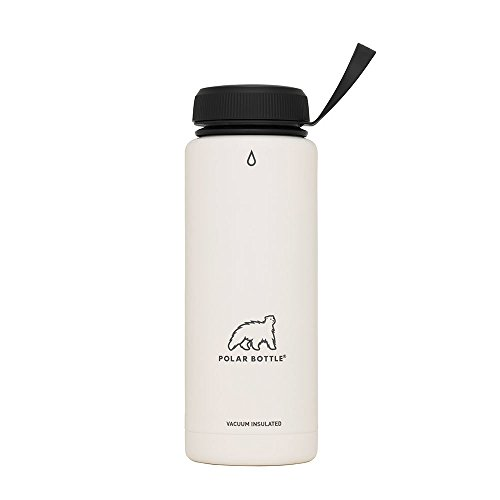 Polar Bottle Thermaluxe - Vacuum Insulated Stainless Steel Travel Mug, White Powder Coat {Standard Cap - Black} 21 ()