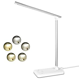 Semdisan LED Table Lamp, Desk Lamps Office, USB Bedside Lights for Reading, 5 Lighting Modes 5 Brightness Levels, Touch Control, Timing Function, Silver White, 8W