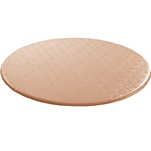 Palos Designs Fitted Vinyl Table Cloth Round with Elastic Edge - Econotex - Fits 48 Inch to 60 Inch Tables (Copper) (Copper Round Top Table)