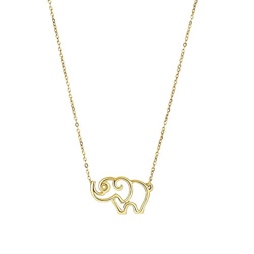 (14k Yellow Gold Polished Elephant Silhouette Pendant Oval Cable Chain Necklace, 17