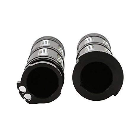 WASTUO Heavy Duty CNC Billet Bord Cut 1poign/ées de guidon pour Sportster Dyna Softail Touring Noir