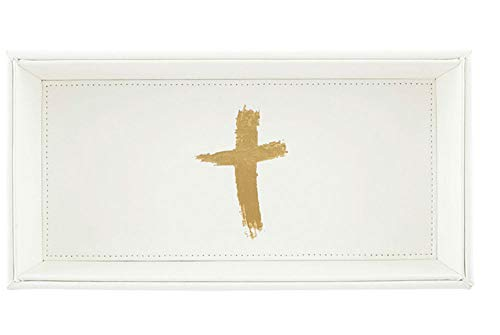 (White and Gold Cross Icon Valet Tray, 10