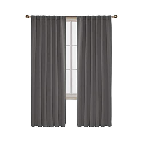 Back Tab and Rod Pocket Curtains Blackout Shades Room Darkening Blinds Thermal Insulated Curtains for French Door 52x95 Inch Light Grey Set of 2