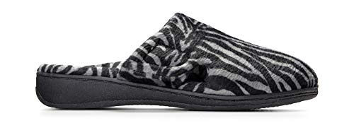 4a6ab746c9 Vionic Women's Indulge Gemma Slipper - Ladies Adjustable Slippers with Concealed  Orthotic Support Dark Grey Zebra