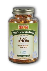 Health From The Sun 100% Vegetarian Flax Seed Oil Softgels, 90-Count Flax Oil 100 Softgels