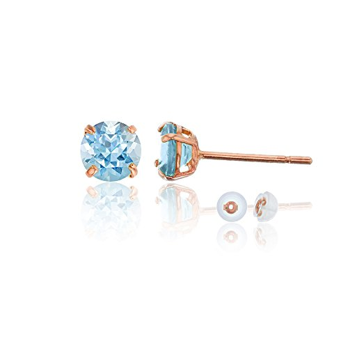14k Genuine Aquamarine Earrings - 14K Rose Gold 4mm Round Aquamarine Stud Earring
