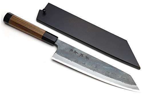 Yoshihiro Mizu Yaki Blue High Carbon Steel #1 Black Forged Kiritsuke Japanese Multipurpose Knife Shitan Rosewood Handle (8.25 In) with Nuri Saya Cover (Best Steel For Japanese Knives)