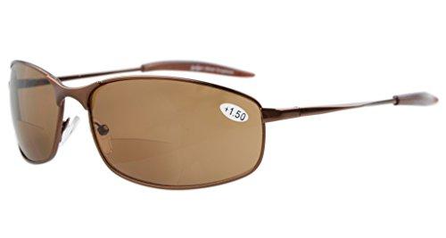Eyekepper Metal Frame Fishing Golf Cycling Flying Outdoor Bifocal Sunglasses Brown +1.0