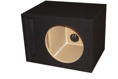 R/T - BLACK Single 12 Slot Vented Sub Bass Hatchback Speaker Box with Labyrinth Power Port (MDF)