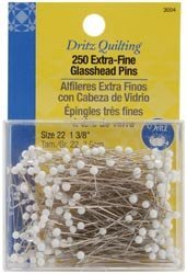 Dritz Quilting Extra Fine Glass Head Pins 1 3/8 inch 250 Pack 3004 (1-Pack) by Dritz
