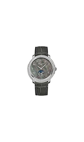 Patek-Philippe-Complications-Black-Mother-of-Pearl-Dial-Diamond-Bezel-18kt-White-Gold-Leather-Ladies-Watch-4968G-001