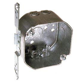 Hubbell 119 Octagon Box 3-1/2'', 1-1/2'', 1/2'' Side Knockouts, Nmsc Clamps, Stud Bracket - Pkg Qty 25 (119) by Raco