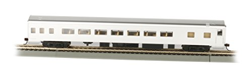 Bachmann Industries Painted Unlettered Aluminum Smooth-Side Coach Car with Lighted Interior (HO Scale), (Aluminum Passenger Coach)