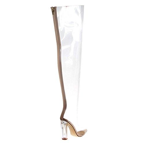 Botas Transparentes See Through Over Knee Dress Con Tacón Transparente De Bloque De Plexo Transparente