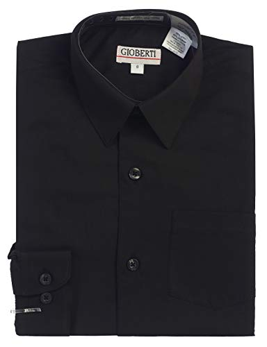 Gioberti Big Boys' Long Sleeve Dress Shirt, Black, - Dress Black Boys