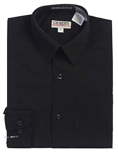 Gioberti Big Boys' Long Sleeve Dress Shirt, Black, 10
