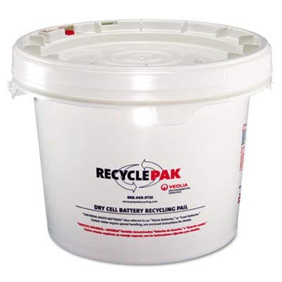 (RECYCLEPAK Prepaid Recycling Container Kit for Batteries, 3 1/2 gal Round Pail, White (SUPPLY041))