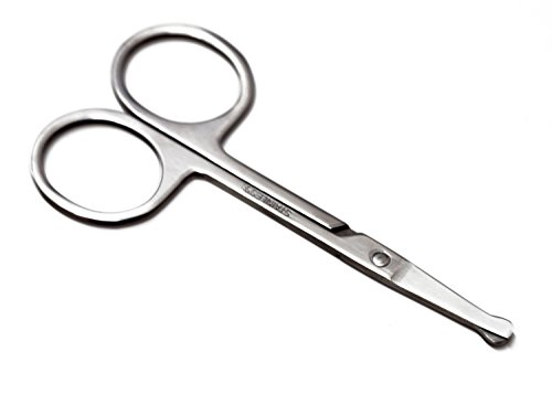 "Naturebelle Stainless Steel Professional 3.7"" Nose Hair Cutting Scissors Trimmer,Safety Round Tip for Ear,Eyebrow,Facial,Beard&Mustache Trimming"