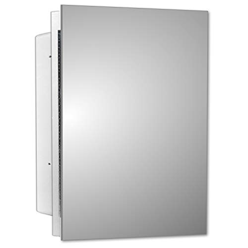 Mirrors and More Recessed Frameless Polished Edge Mirror Medicine Cabinet | Fixed Shelf | Bathroom | Kitchen | 16