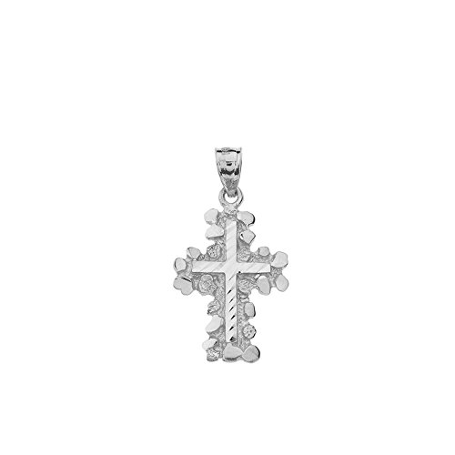(Solid 925 Sterling Silver Nugget Cross Crucifix Religious Pendant (Small))