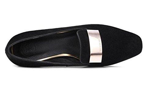 Formato Closed da Black 35To41 Scarpe donna Ballerina scamosciato Piatto Toe Ufficio mocassini pCn6qztwxn