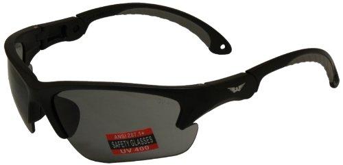 Global Vision Klick Safety Glasses with Adjustable Temples (Black Frame/Smoke - Glasses Klick